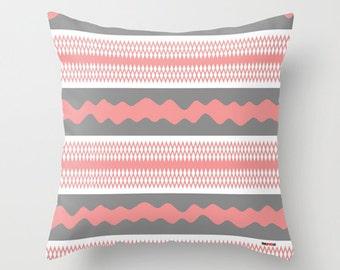 Decorative throw pillows - Pink and gray Pillow cover - Scandinavian pillow- Modern pillow - Design cushion - Contemporary pillow