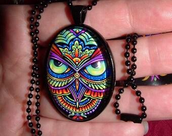 SALE Psychedelic Rainbow Owl Trippy Hippie Owleister Black Glass Necklace