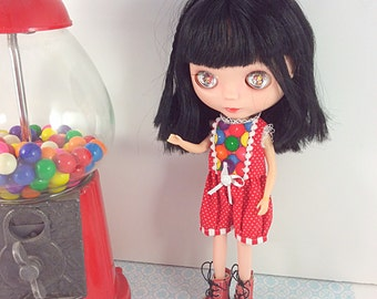 Gumball Machine, Cute Romper for Blythe, Licca, Dal, Pullip ,Neemo S and Other Similar Sized Dolls
