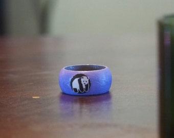 Wood Panda Ring -Size 9