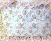 Pink Floral Pillow Sham Shabby Chic Ruffle Pink Standard Pillow size  gift