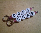 New Colors! Oops and Crap Stitch Markers for Knit or Crochet in Rose Pink, great for new knitters & crocheters! Rose Pink Ready-to-Ship RTS