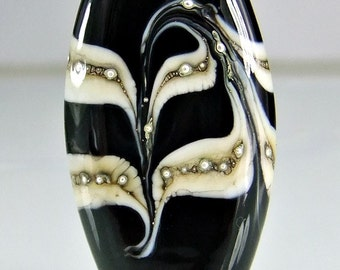 Glass Lampwork Black Focal Bead Black Ivory Silver Lampwork Focal Bead