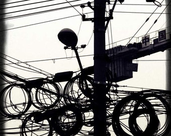 Old Shanghai - High Speed Development (black and white street photography print, urban lamp post wires vintage editorial China travel photo)