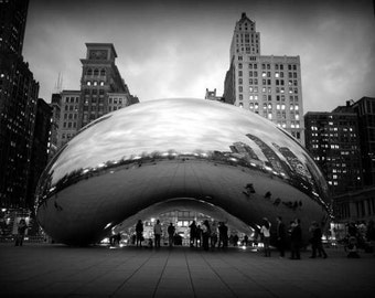 Chicago Bean - Refine (Cloud Gate black and white travel photography print, urban landmark modern architecture silver liquid art sculpture)
