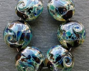 Lampwork Glass Beads Lentils (6) Atlantis on Black