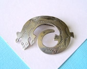 Navajo Signed Sterling Silver Stamped Lizard Pin