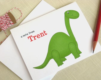 Personalized  Boy Note Cards - Green Dinosaur Note Cards  - Set of 8
