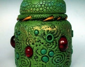 Green Dragon Talons Jar/ Vase Polymer Clay over Glass