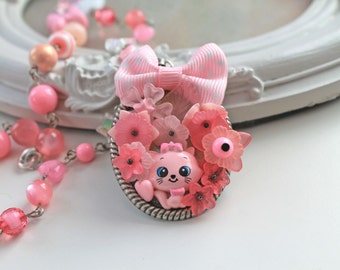 Pink kitty cat necklace Kawaii Lolita