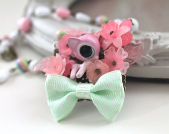 Kawaii fairy kei  necklace with little deer pastel pink green