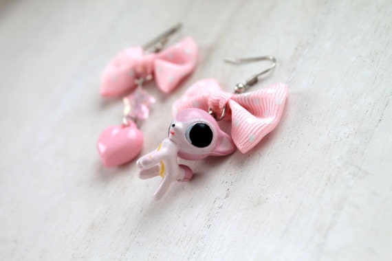 Deer kawaii mismatched dangle earrings pink Fairy kei