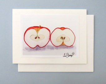 Watercolor note card Handmade all Occasions / Blank Card / Thank you birthday anniversary greetings / Fresh apples / Fruit card / 7 x 5 A7