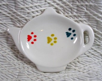Pawprints On Ceramic Tea Bag Holder Primary Colors Handmade Dog or Cat Prints