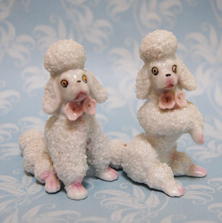 1950s Poodle Figures Vintage Porcelain Dog Set Figurine Japan