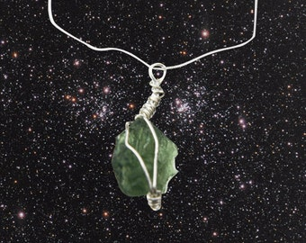 Stunning Moldavite Necklace - Wire Wrapped With Sterling Silver Wire