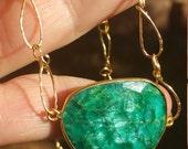 genuine raw faceted emerald pendant
