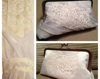 CUSTOM, REPURPOSED bridal wedding clutch purse - reuse an old dress/keepsake to coordinate with YOUR dress (heirloom, family, mom, grandma)