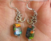 Ohm Symbol Chakra colors sea sediment jasper with Ohm yoga charms silver drop earrings meditation earrings