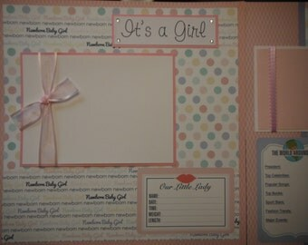 20 Premade Baby Girl 12x12 Scrapbook Pages for your baby gift for new mom daughter and album
