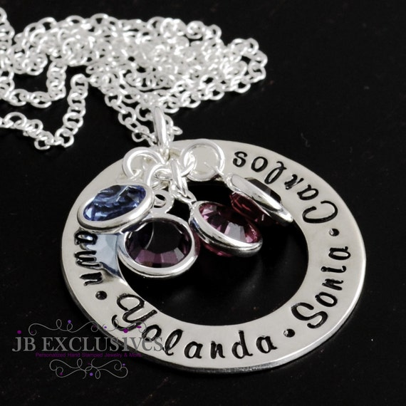 mommy necklaces - hand stamped - personalized - sterling silver chain - Eternity circle - baby name charm and birthstone