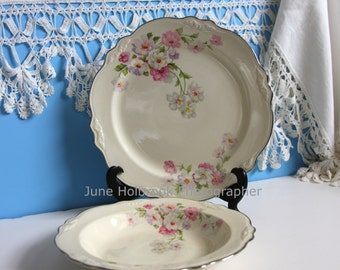 """Virginia Rose 1940 pattern by Homer Laughlin 9.25"""" PLATE or 8.25"""" SOUP/SALAD  """"Fluffy Rose"""" Pink, White, Cream Platinum Trim"""