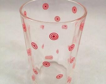 Vintage SWANKY SWIG 1950's Era Juice Glass with Red Bulls Eye Design
