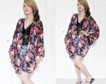 Floral kimono jacket, gypsy kimono, kimono cape, batwing cape jacket, boho kimono, flower bomb print, kimono jacket, festival kimono,