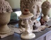 Vintage mermaid, sea nymph, cherub, dolphin, soap dish, garden statue, holland mold, boho, eclectic