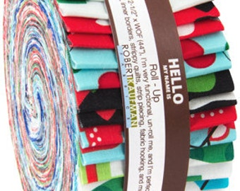 SALE JINGLE Jelly Roll Up Strips Precut Cotton Fabric Robert Kaufman by Ann Kelle  RU-423-40