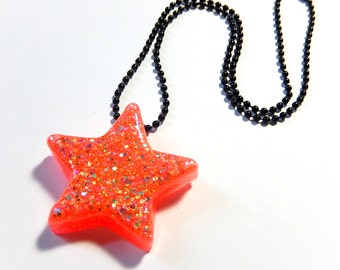 Star Necklace, Watermelon Pink, Pink Orange Neon Resin Pendant, Glitter Rave Jewelry
