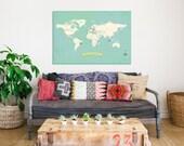 World Map Wall Art, My Travels Personalized World Map Print, 36x24, Nursery Wall Art, Kid's Room Decor, Gender Neutr