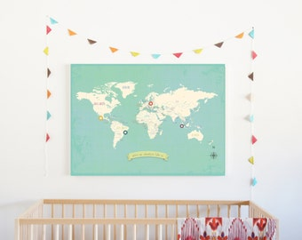 World Map Wall Art, My Travels Personalized World Map Print, 24x18, Nursery Wall Art, Kid's Room Decor, Gender Neutral