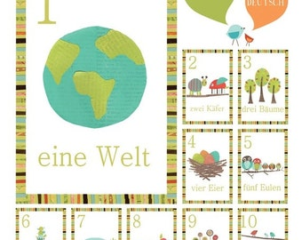 German Number Counting Cards, 5x7, Nursery Wall Art, Woodland Nursery, Gender Neutral Nursery, Children's Wall Art