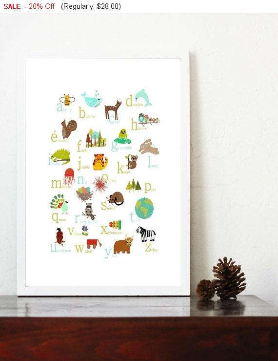 French Alphabet Print 11x14 Nursery Wall Art, Nature Themed, Kid's Art Decor, Gender Neutral Nursery, ABC, Children Wall Art