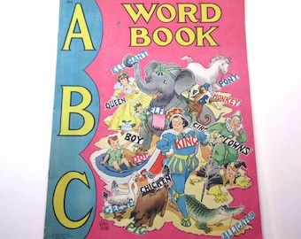 Vintage 1940s Oversized Childrens Textured ABC Word Book Illustrated by Ethel Hays