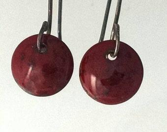 Handmade Enamel Earrings of Volcanic Red Love on Black
