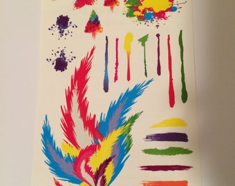 Feather blot art splat love water color paint canvas tattoo jewelry temporary bling gold lady fun gifts sheet ink blot watercolors