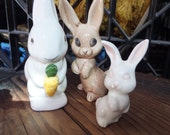 Vintage Porcelain Bunny Rabbit Figurines from Vintage 1960's Vintage 1980's Set of three Bunnies