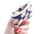 zipper pouch. navy baseball cute coin purse. change purse. small gift idea. teacher gift. girls gift idea