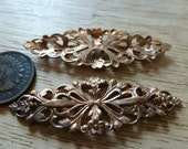 "Vintage Navette Filigree, 1950s Floral Brass Stamping, Jewelry Finding or Embellishment, 50x17mm (approx. 2""), 1 piece, (C20)"