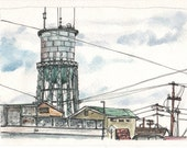 Original signed pen an ink with watercolor North Park Water Tower