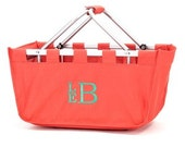 Coral Large Personalized / Monogrammed Collapsible Market Basket