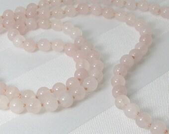 Long Handknotted Rose Quartz Necklace