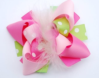 boutique MINI mod hot PINK and LIME green hair bow clip