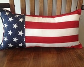 "Americana 4th of July Stars and Stripes pieced pillow 9.5"" X 19"" red white and blue patriotic"