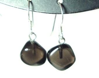 Apache Tears sterling silver french hook earrings