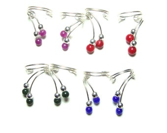 Coral Jade or Cats eye sterling silver ear cuffs