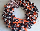 "Rag Wreath ~ Philadelphia Flyers Hockey Team ~ 15"" or 20"" ~ Made to Order ~ GO TEAM!!!"