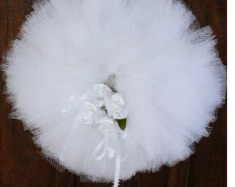 "Gorgeous full 10"" KISSING BALL ~ tulle and satin ribbons with accent flowers ~ wedding ~ reception ~ home ~ Custom Orders Accepted"